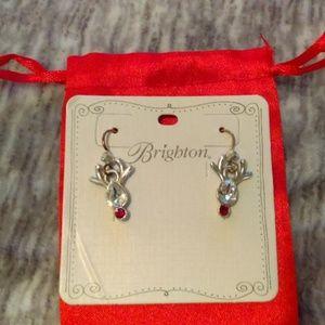 NWT Brighton reindeer earrings silver/rhinestone